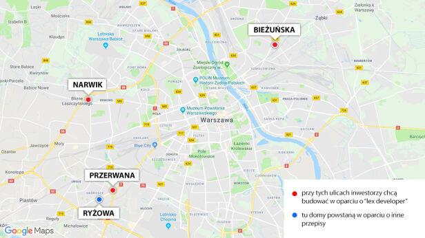 """Lex deweloper"" w Warszawie tvn24.pl/Google Maps"
