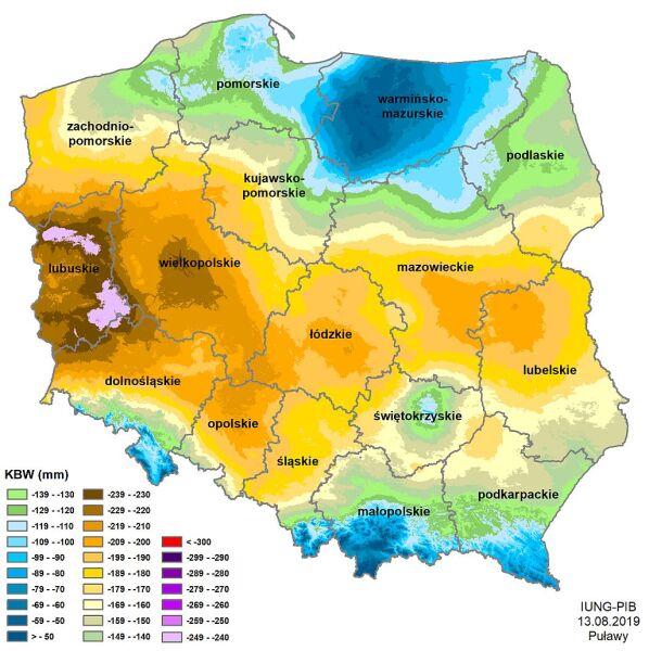 Susza rolnicza w Polsce - stan z 13 sierpnia 2019 roku (IUNG)