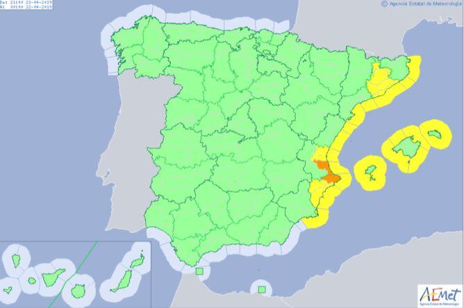 Ostrzeżenia meteorologiczne dla Hiszpanii (AEMET)