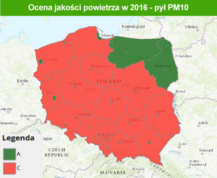 Stan jakości powietrza w 2016 roku - pył PM10 (TVN Meteo za GIOŚ)