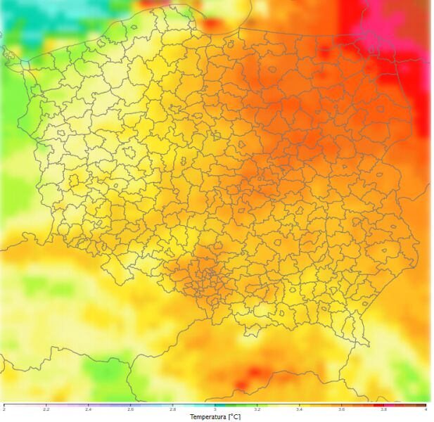 Porównanie średniej dobowej temperatury zimą dla dekady 2081-2090 do dekady 2011-2020 według scenariusza RCP8.5 (klimada2.ios.gov.pl)