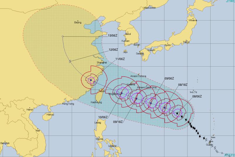 Prognozowana ścieżka przejścia tajfunu Maria (Joint Typhoon Warning Center)