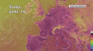 Prognozowana temperatura we Francji (Ventusky.com)