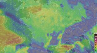 Prędkość wiatru we Francji